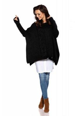 Modny sweter ponczo LS240 czarny