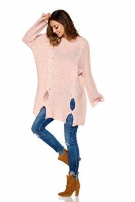 Moherowy sweter z wycięciami LS220 pudrowy róż