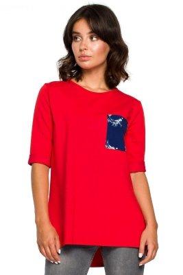 B095 Bluzka ze wstawkami w kwiaty - czerwona