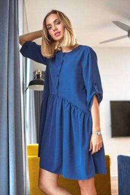 M427 Luźna sukienka marszczona w pasie - niebieska