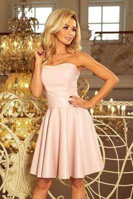 83-3 Gorsetowa sukienka z ekoskóry - PASTELOWY RÓŻ