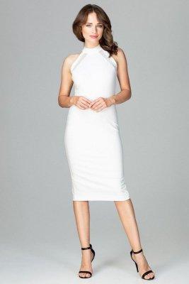 Sukienka z a'la chokerem i przejrzystymi wstawkami w okolicy biustu