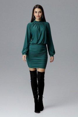 Sukienka z luźniejszą górą i lekko bufiastymi rękawami oraz dopasowanym, ołówkowym dołem