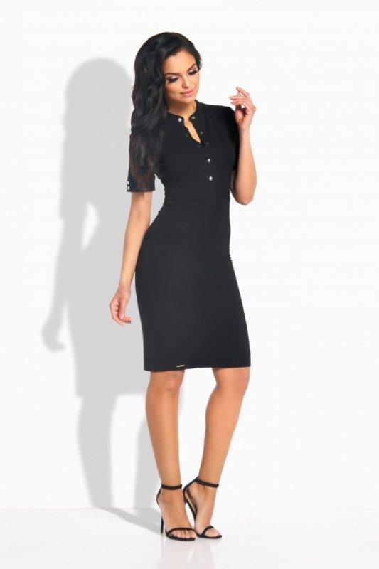 L191  sukienka z guziczkami czarny