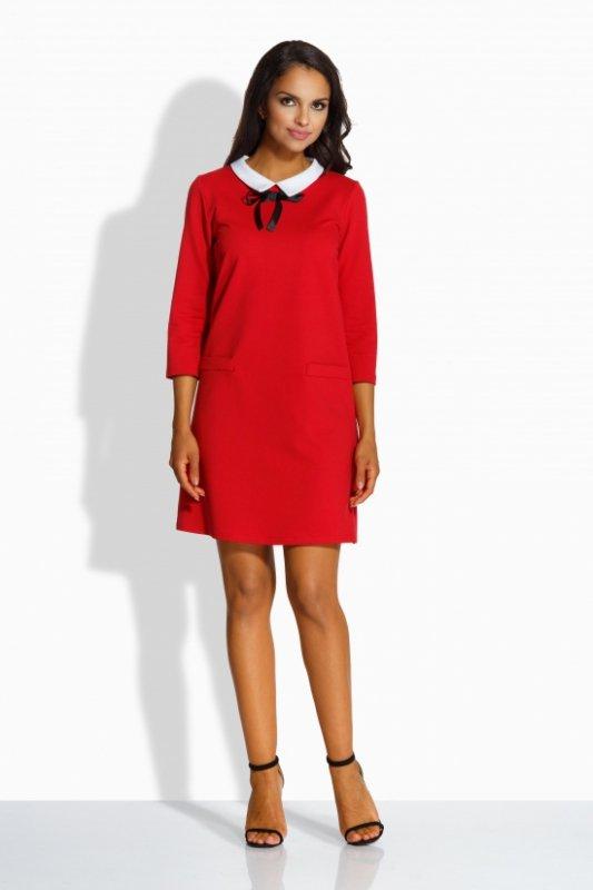 L222 Sukienka z kołnierzykiem czerwony