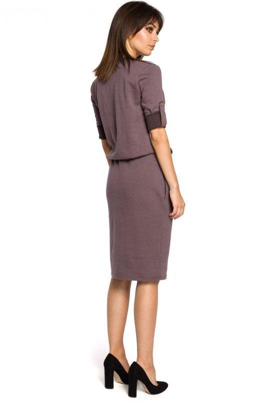 B056 sukienka brązowa