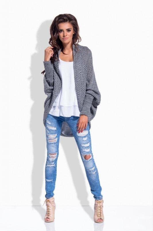 LS170 Melanżowy sweterek narzutka grafit