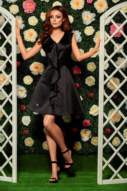 Oszałamiająca sukienka z falbaną L259 czarny