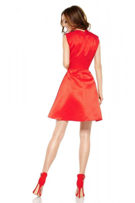 Oszałamiająca sukienka z falbaną L259 czerwony
