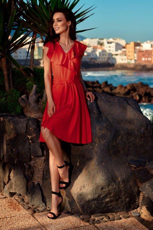 Sukienka kopertowa L253 czerwony