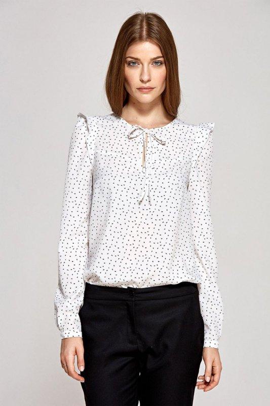 Bluzka z wiązaną łezką na dekolcie - wzór/ecru - CB09