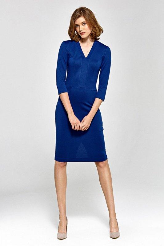 Sukienka z dekoltem w literę V - niebieski - CS17