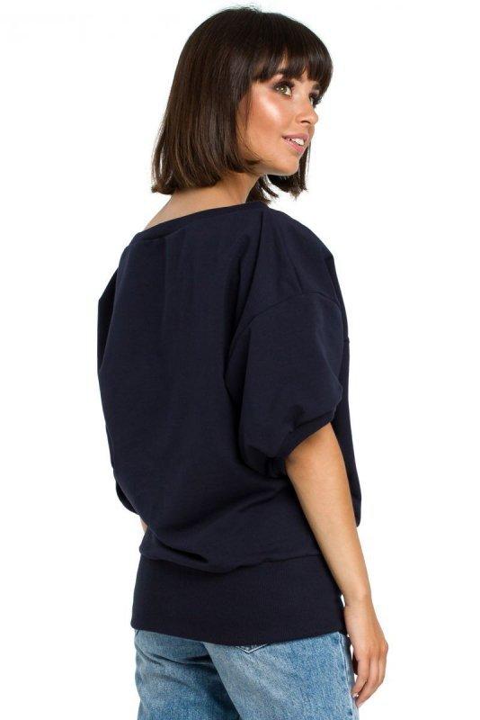 B079 Bluza z kimonowymi rękawami granatowa