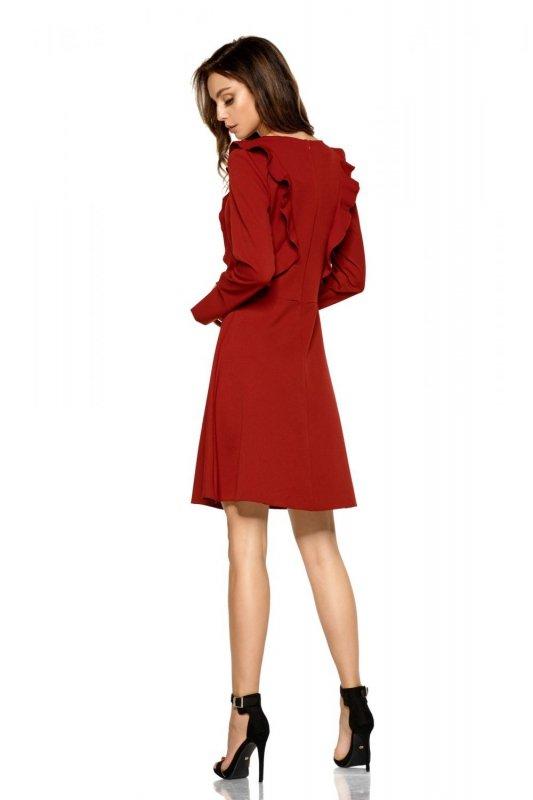 Klasyczna sukienka z długim rękawem L271 bordo