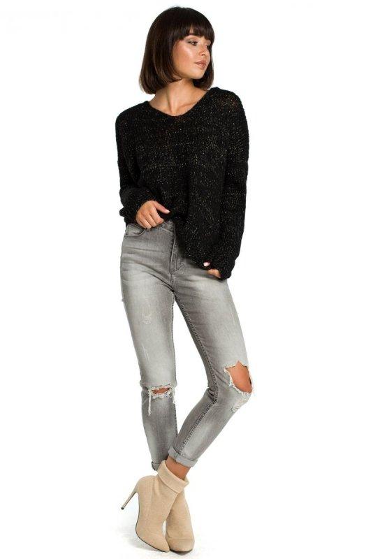 78a1704453 BK004 Sweter ze złotą nitką - czarny - Swetry - Moda Damska