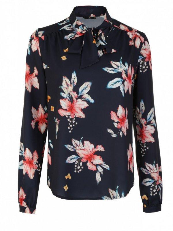 Bluzka z fontaziem i długim rękawem - kwiaty/granat - B94