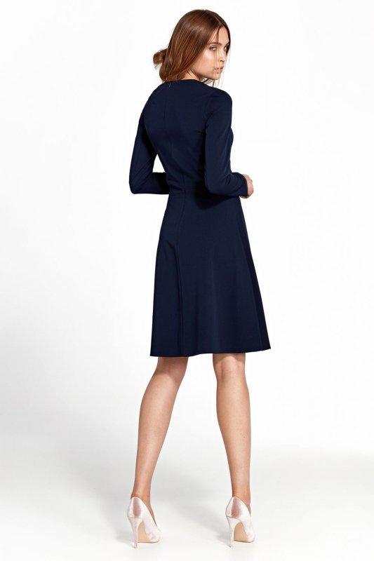 Sukienka z zakładkami - granat - S105