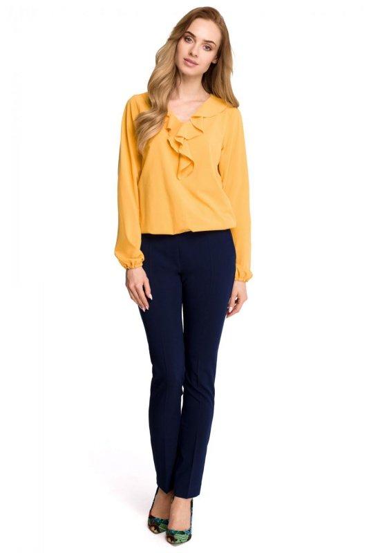 S104 Bluzka z żabotem - żółta