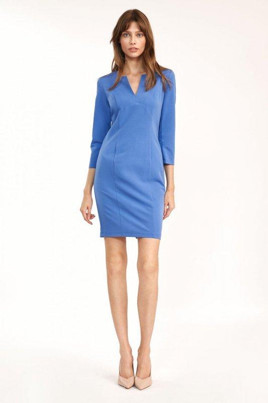 Dopasowana niebieska sukienka mini - S185
