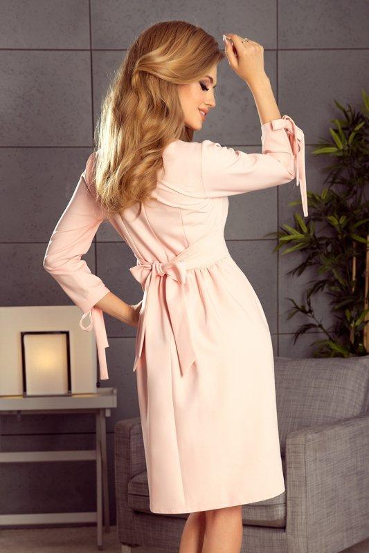 195-2 ALICE Sukienka z kokardkami - PASTELOWY RÓŻ