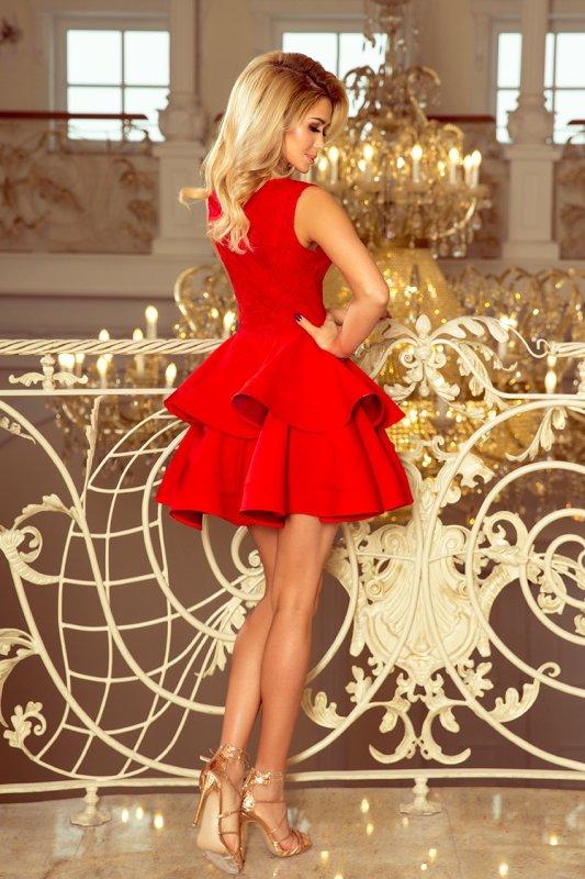 200-4 CHARLOTTE - ekskluzywna sukienka z koronkowym dekoltem - CZERWONA