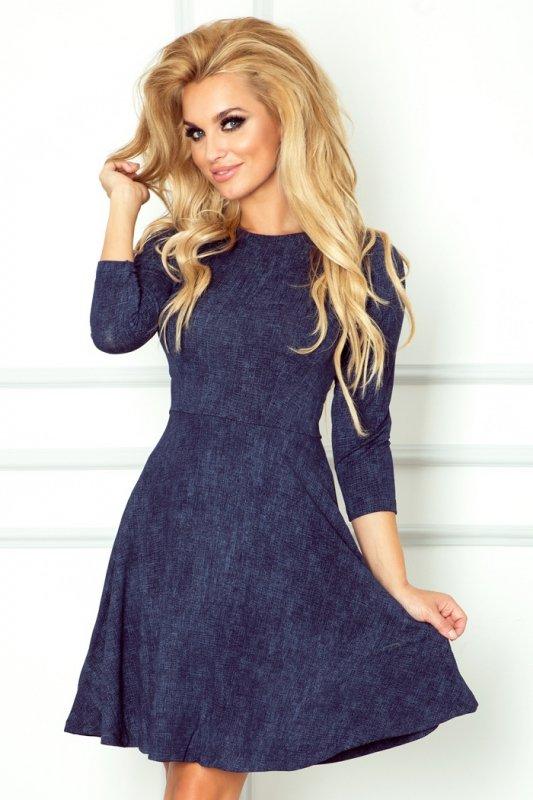 49-3 Rozkloszowana sukienka z rękawkiem 3/4 - jeans granatowy