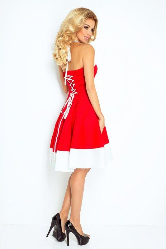 30-17 Rockabilly pin up sukienka - CZERWONA z BIAŁYM pasem - TASIEMKA biała