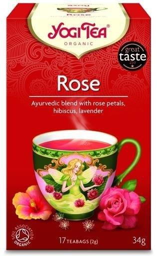 YOGI TEA® Ajurwedyjska herbata RÓŻA z płatkami róży, lawendą i hibiskusem (Rose)