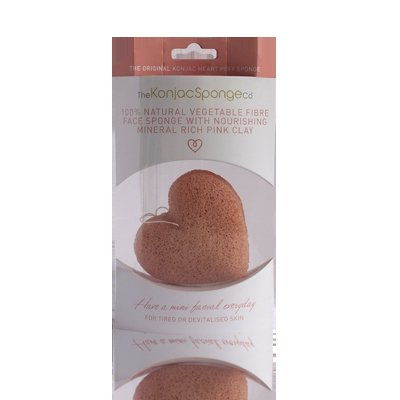 Gąbka Konjac Premium Serduszko z różową glinką do cery wrażliwej, zmęczonej i niedożywionej
