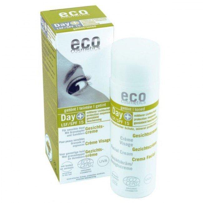eco cosmetics Day+ Tonowany krem do twarzy LSF/SPF 15 z owocem granatu i rokitnikiem 3w1