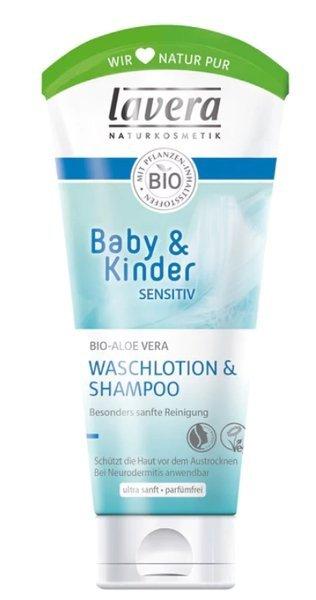 Lavera Baby & Kinder Neutral Szampon i emulsja do mycia ciała z bio-wiesiołkiem i bio-aloesem 200ml