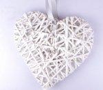 Serce ratanowe pełne białe  34 x 36 cm