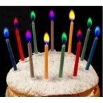 Świeczki urodzinowe z kolorowymi płomieniami