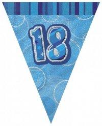 Girlana flagi 18-te urodziny Glitz niebieska 3,6m