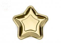 Talerzyki w gwiazdki  złote 23 cm  - 6szt