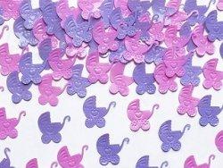 Konfetti metalizowane wózeczki różowe i fioletowe