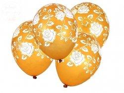 Balony złote w   Białe róże  12 cali