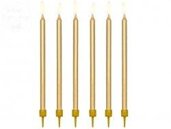 Świeczki urodzinowe metalizowane złote 12szt