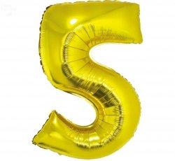 Balon foliowy złoty  Cyfra 5  85 cm