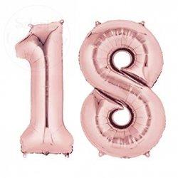 Balon foliowy  86 cm różowe-złoto cyfra 18