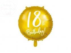Balon foliowy okrągły złoty 18-ste urodziny 45cm