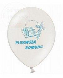 Balony komunijne z błękitnym nadrukiem 1 szt