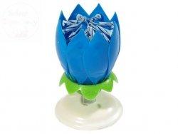 Świeczka grająco wirująca niebieska 1szt Happy ...