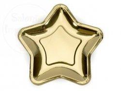 Talerzyki złote gwiazdki 23 cm - 6 szt