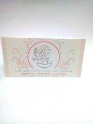 Zaproszenie na chrzest różowa chrzcielnica1 szt