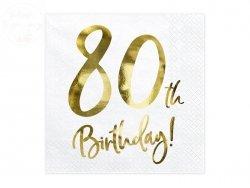 Serwetki białe Happy Birthday na 80 urodziny20szt