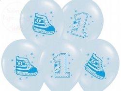 Balony 14cali błękitne  Trampek number 1 1szt
