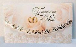 Zaproszenie ślubne Róże z obrączkami 1szt
