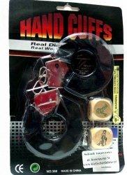 Kajdanki czarne z futerkiem  + kostki do gry