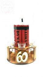 Stojak dynamit z kieliszkami na 60-te urodziny